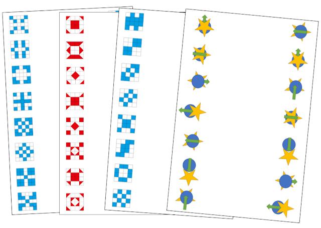 na zdjęciu cztery karty pracy, dwie z nich to łączenie w pary niebieskich elementó w kształcie kwadratów, kolejne to czerwone kwadraty z różnym wypełnieniem a ostatnie to różnokształtne elementy
