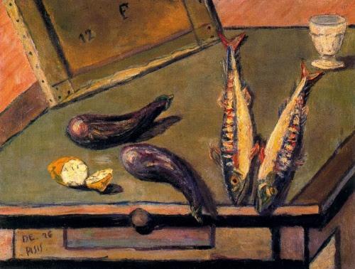 Filippo de Pisis, Natura morta con melanzane e sgombri
