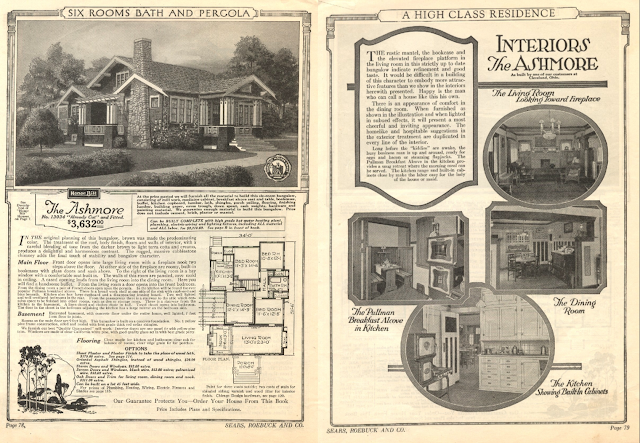 catalog spread of two pages showing the Sears Ashmore in the 1922 catalog