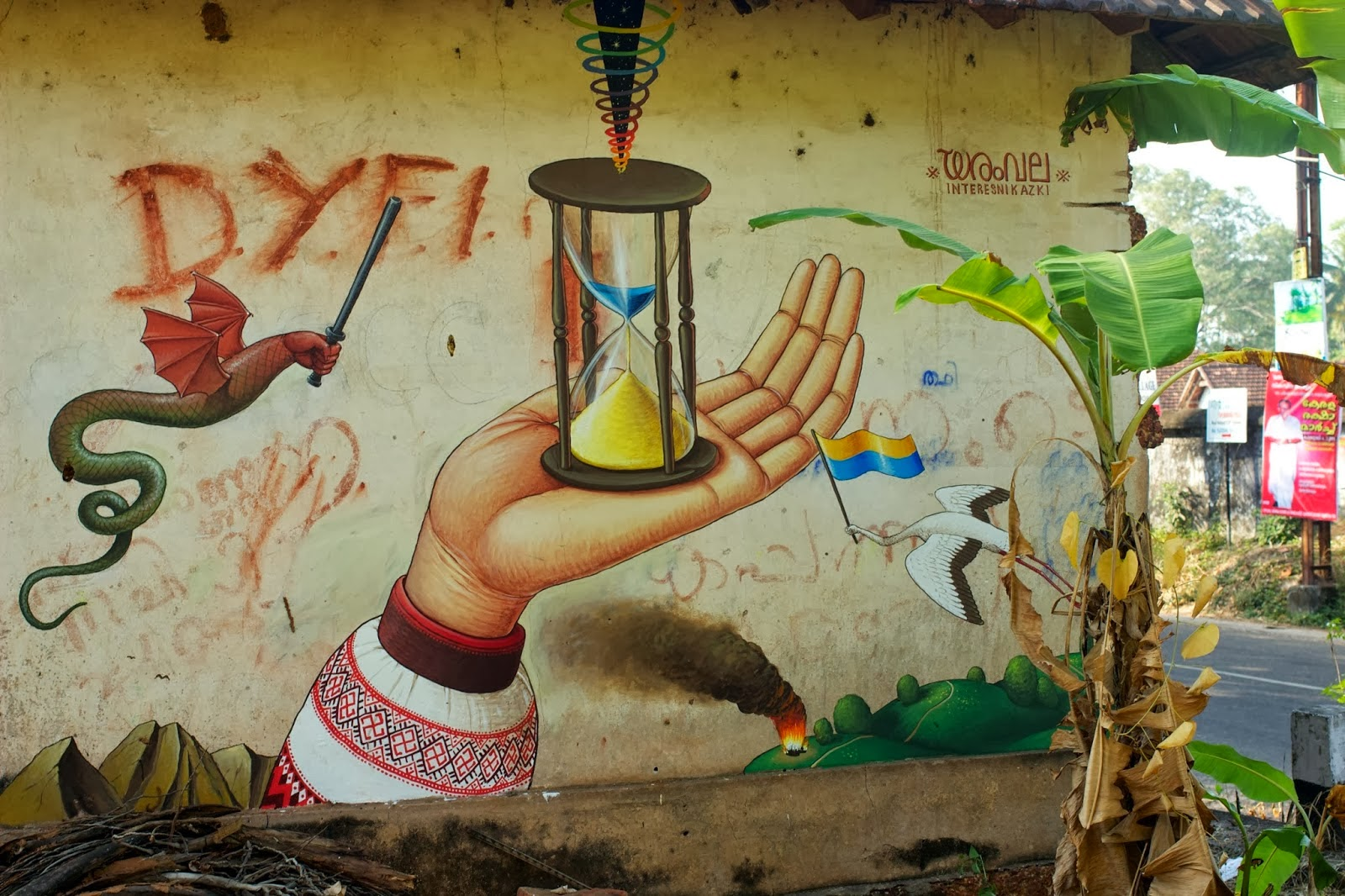 """""""Time For Change"""" a new mural by Ukrainian artist WAONE from Interesni Kazki in Varkala, India."""