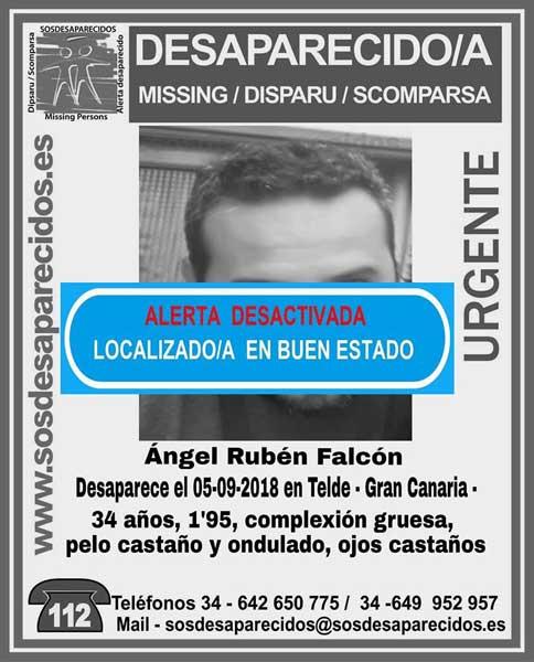 Cartel del aviso de localización en buen estado de Ángel Rubén Falcón, que se encontraba como desaparecido en Telde, Gran Canaria