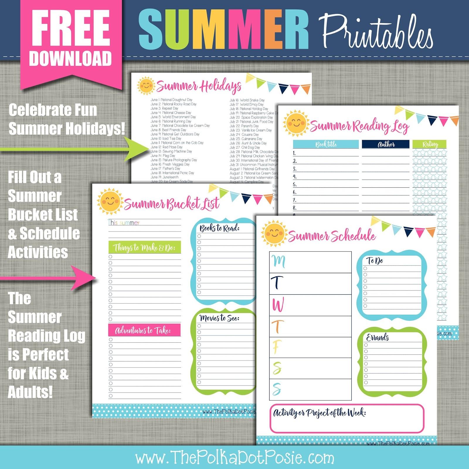 Summer Bucket List Printable Planner