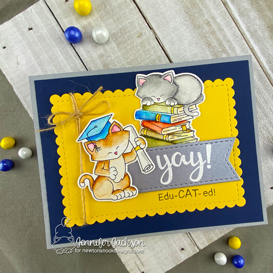 Cat themed Graduation Card by Jennifer Jackson | Newton's Graduation and Newton's Book Club Stamp Set, Frames & Flags and Framework Die Sets by Newton's Nook Designs #newtonsnook