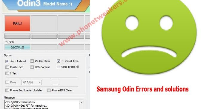 List of Samsung Odin Flashing Error, Failure And Solutions