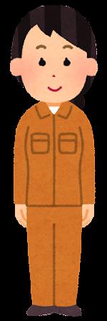 オレンジの作業着を着た人のイラスト(女性)