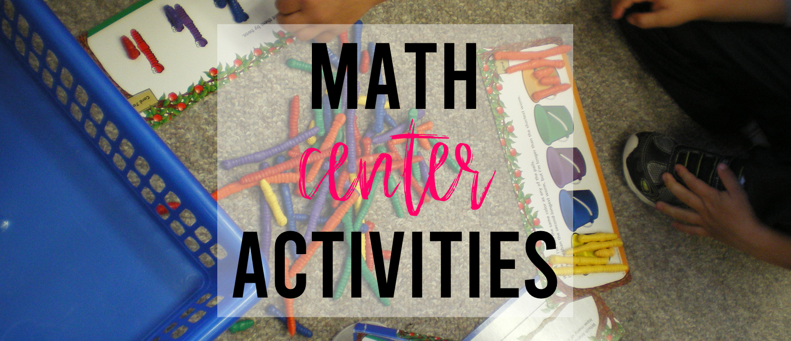 Math center activity ideas for Kindergarten