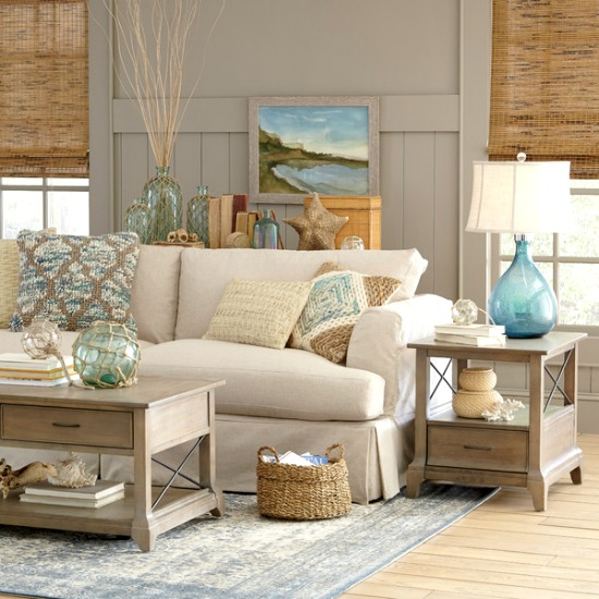 Sandy beige blue living room birch lane catalog bliss for Natural living room design ideas