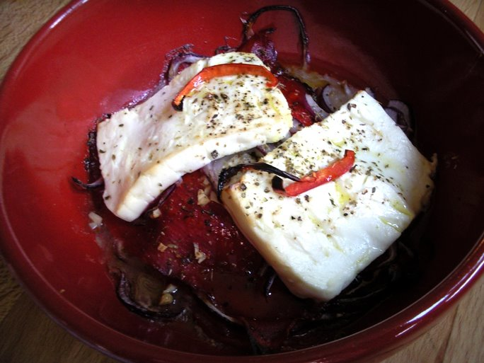 Baked Feta Peppers Onions and Tomatoes