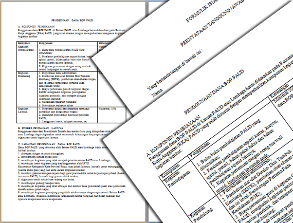 Contoh Format Laporan Penggunaan Dana BOP PAUD Format Word
