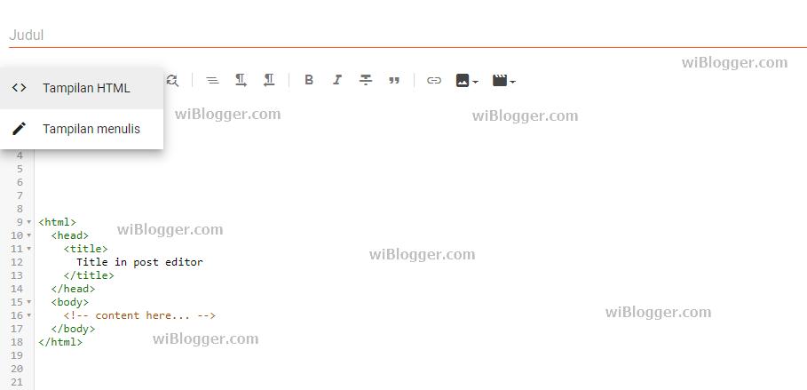 Menulis tag html body di dalam postingan blogger