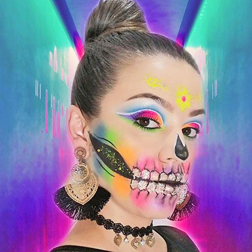 maquillaje de catrina multicolor