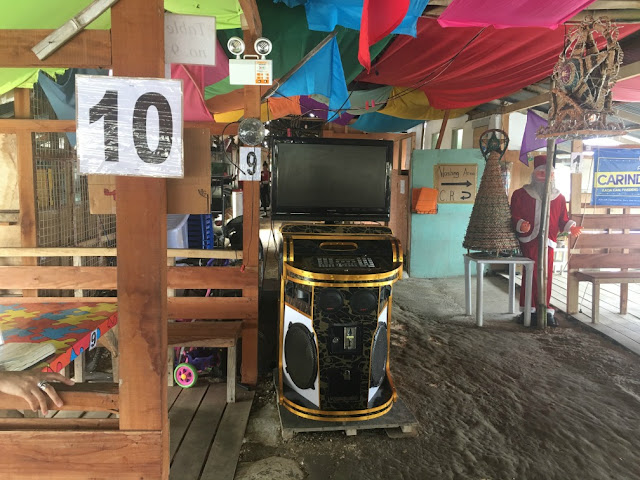 Videoke machine at Ruben's Talaba Eatery