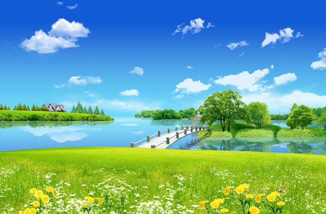 تحميل خلفية سماء زرقاء صافيه وجسر خشبي Psd