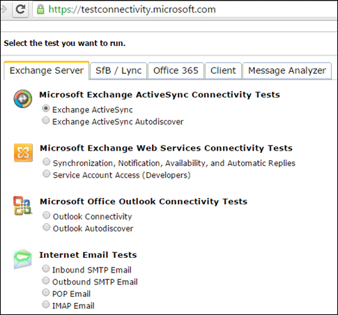 Test ActiveSync Connectivity using Connectivity analyzer and