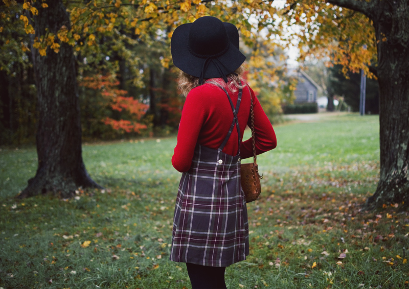 The Flying Clubhouse: October Rain | plaid pinafore, red turtleneck