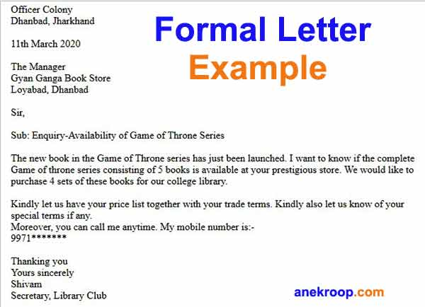 formal letter example