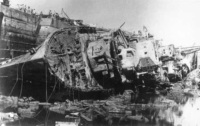 HMS Kingston in a Malta drydock after being destroyed there on 11 April 1942 worldwartwo.filminspector.com