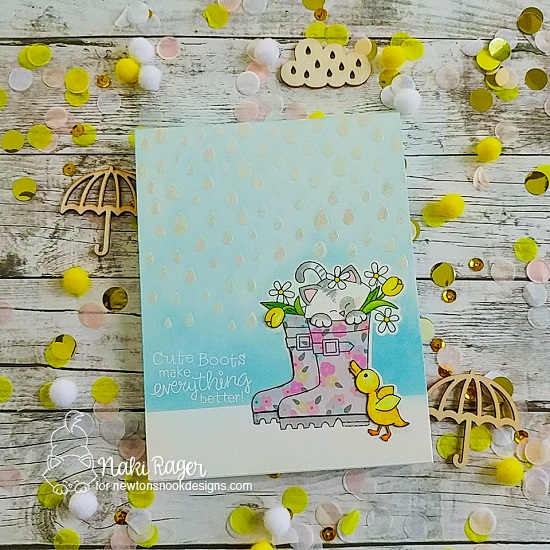 Kitty in Rain Boots Card by Naki Rager | Newton's Rain Boots Stamp Set and Raindrops Stencil by Newton's Nook Designs #newtonsnook #handmade