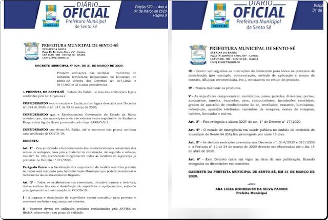 SENTO-SÉ: NO COMBATE CONTRA O COVID-19, PREFEITURA PRORROGA DECRETO E TEM ALTERAÇÕES PARA COMÉRCIO