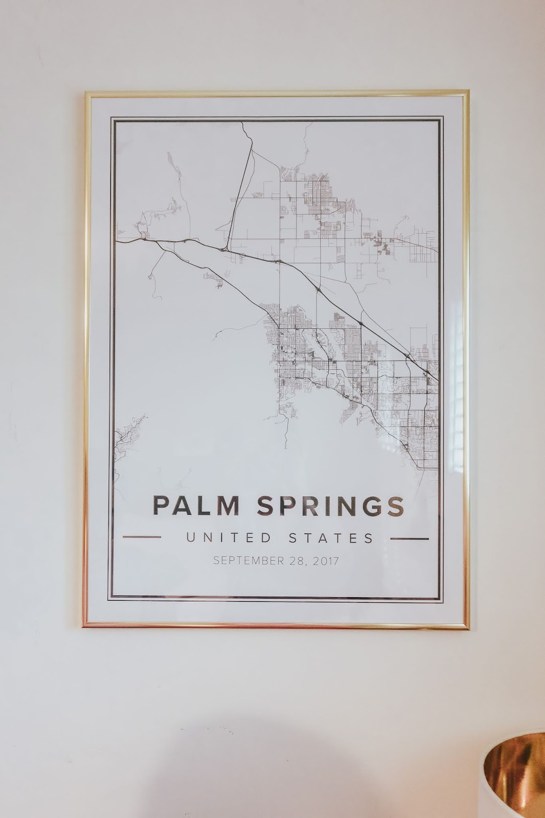 Palm springs map frame with gold desenio frame