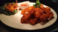 Garnished Thai crispy potato with sauce Food Recipe