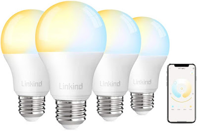Linkind Smart WiFi Light Bulb 2.4G (Not 5G), 60W Equivalent LED Bulb, No Hub Required, Works with Alexa, A19 800lm Smart Lights, Soft White & Cold White (2700k-6500k), Dimmable and Tunable, Pack of 4