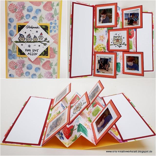 Geburtstagskarte mit Eule mit Foto-Falttechnik im Inneren vom letzten Online-Teamtreffen Stampin' Up! www.eris-kreativwerkstatt.blogspot.de