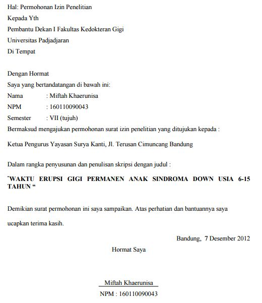 Contoh Permohonan Surat Penelitian Tugas Akhir Universitas