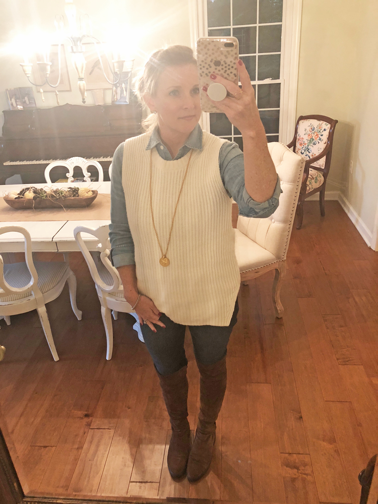 chambray shirt with sweater vest, skinny jeans and over the knee boots