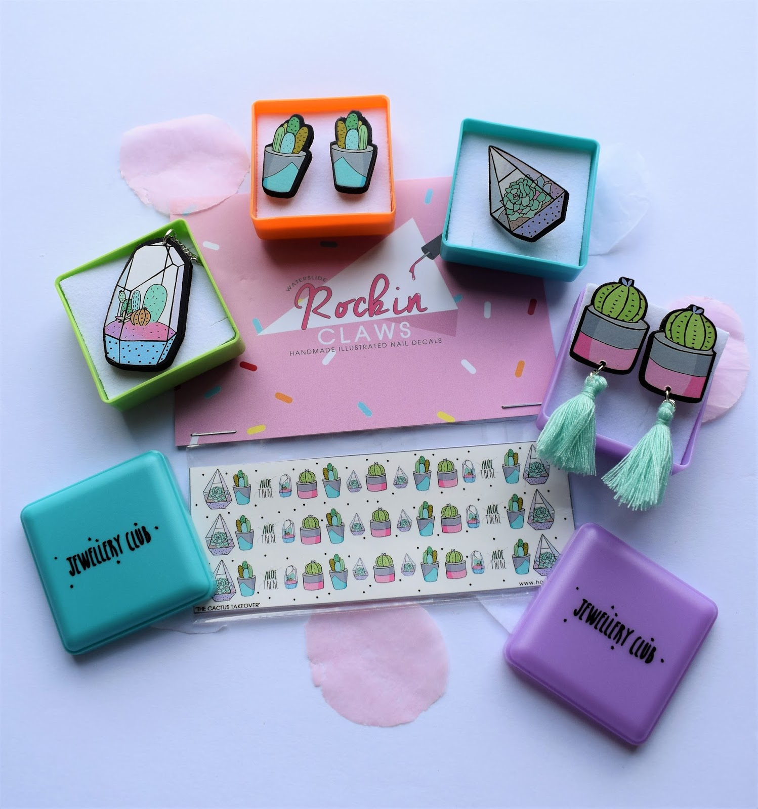 jewellery club subscription box cactus illustrated jewellery, confetti, cactus party, succulent jewellery, terranium jewellery, Hause of Wonderland, Edinburgh jewellery, July subscription unboxing, #shopsmall, Scottish illustration