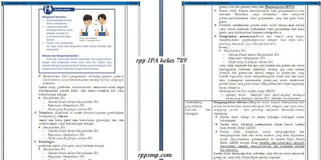 Download Rpp IPA Smp Kelas 7 8 9 Kurikulum 2013 Revisi 2017 Semester 1 2 Ganjil dan Genap Lengkap Silabus Promes Prota Dll