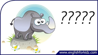 rhino flashcard, cartoon rhino image, esl flashcard