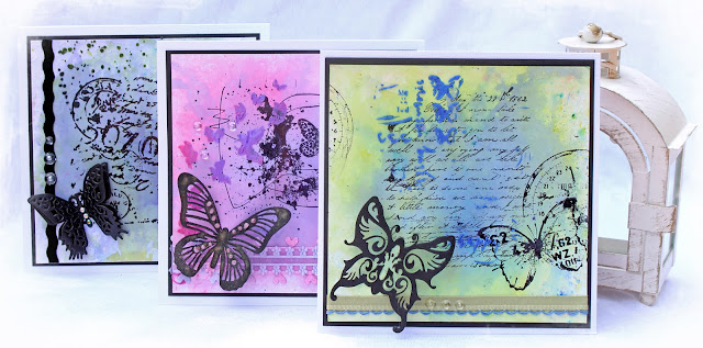 Handmade cards created with Brusho Crystal Colours