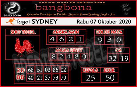 Prediksi Bangbona Sydney Rabu 07 Oktober 2020