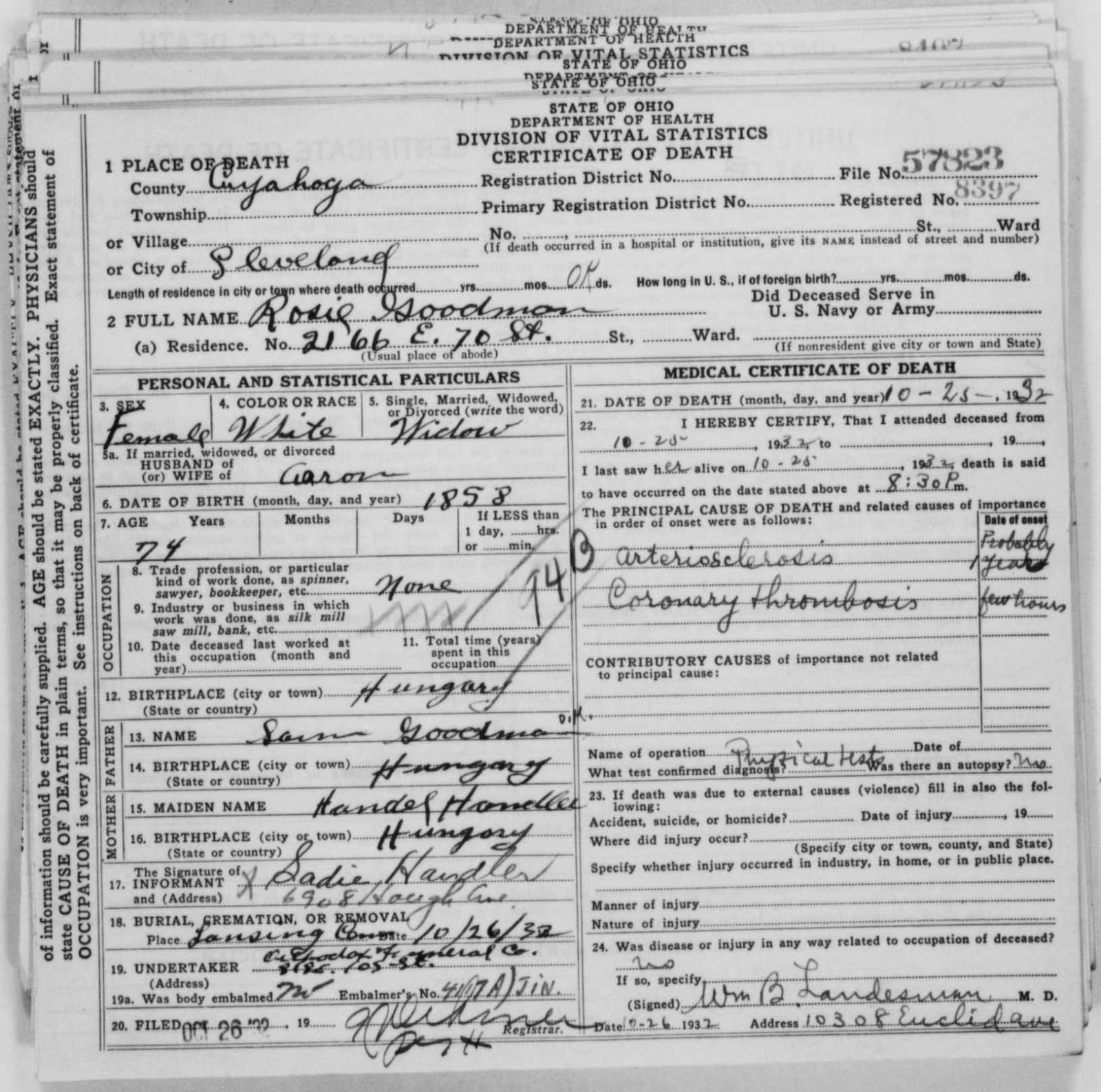 A jewish genealogy journey 2012 ohio department of health death certificate ohio deaths 1908 1953 record for rosie goodman died 25 october 1932 found at familysearch aiddatafo Image collections