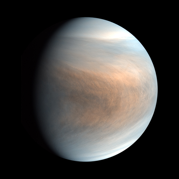 A false-color image of Venus that was taken by Japan's Akatsuki spacecraft.