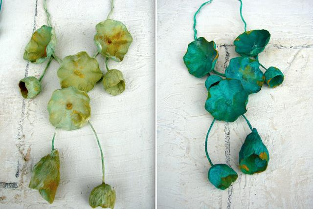 Maxy collane di carta dipinte a mano colori verde by Alessandra Fabre Repetto