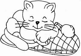 gambar kucing hitam putih untuk diwarnai