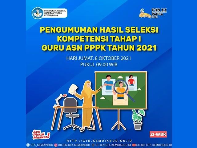 Pengumuman Hasil Seleksi Kompetensi Tahap I Guru ASN PPPK 2021 Direncanakan Jumat, 8 Oktober 2021
