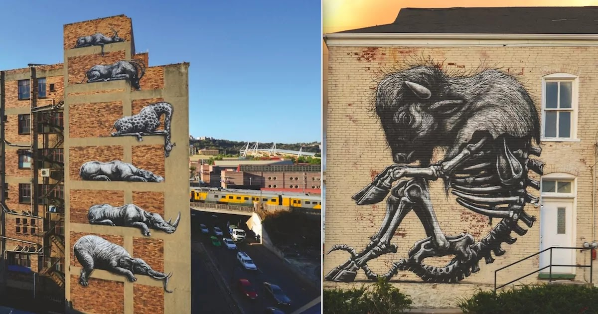 Incredible Black And White Animal Murals From Street Artist ROA Are Now Published In An Amazing New Book