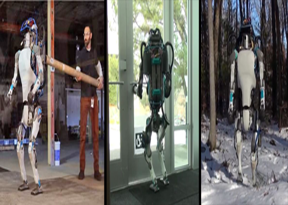 The Atlas Robot from Boston Dynamics: Its balance is so well engineered you can't easily knock it over. It can effortlessly  navigate doorways, walk up and down stairs and even through snow.