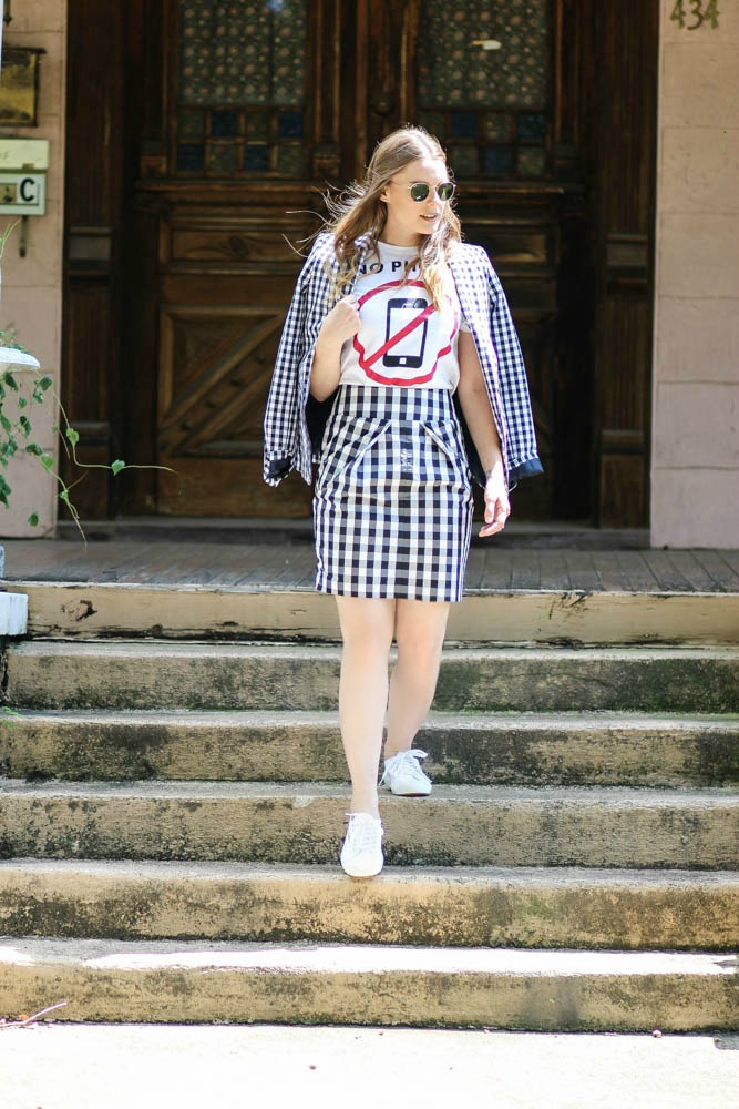 Gingham blazer and skirt