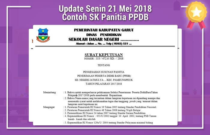 Update Senin 21 Mei 2018 Contoh SK Panitia PPDB