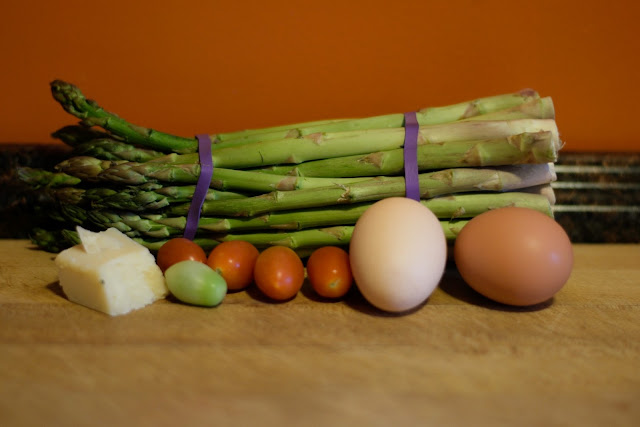 The ingredients needed for the Italian style baked eggs and asparagus.