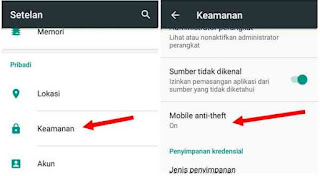 pengaturan anti theft android