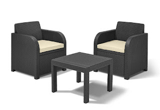 ONLY TODAY DEAL Keter 2-Seater Atlanta Balcony Bistro Set with Cushions,Cream £69.99