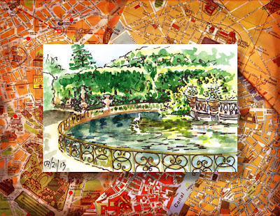 Boboli Garden Neptune Fountain watercolor sketch by Irina Sztukowski