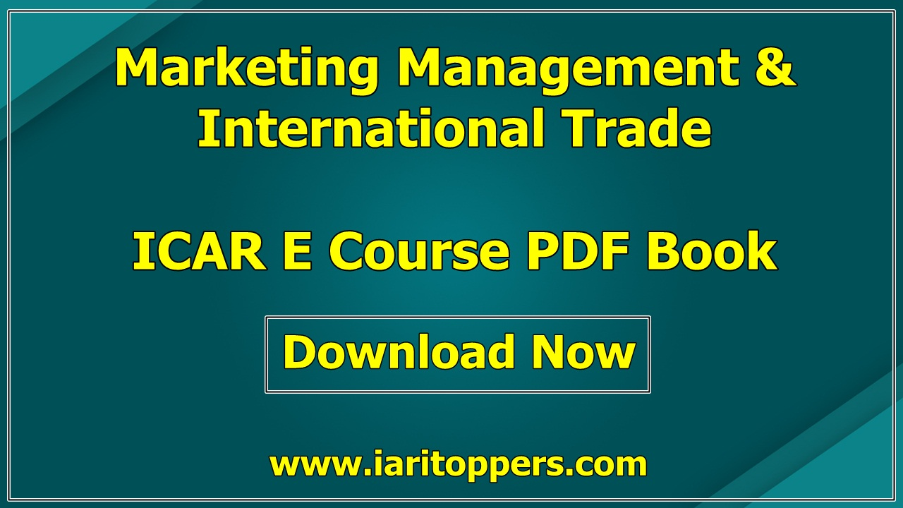 Marketing Management And International Trade ICAR ECourse PDF Book Download