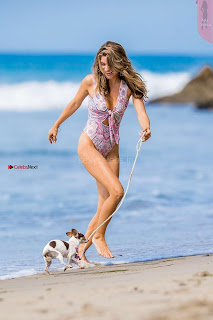 Rachel McCord In Swimsuit seen on the beach with her dog 034 ~ Celebs.in Exclusive