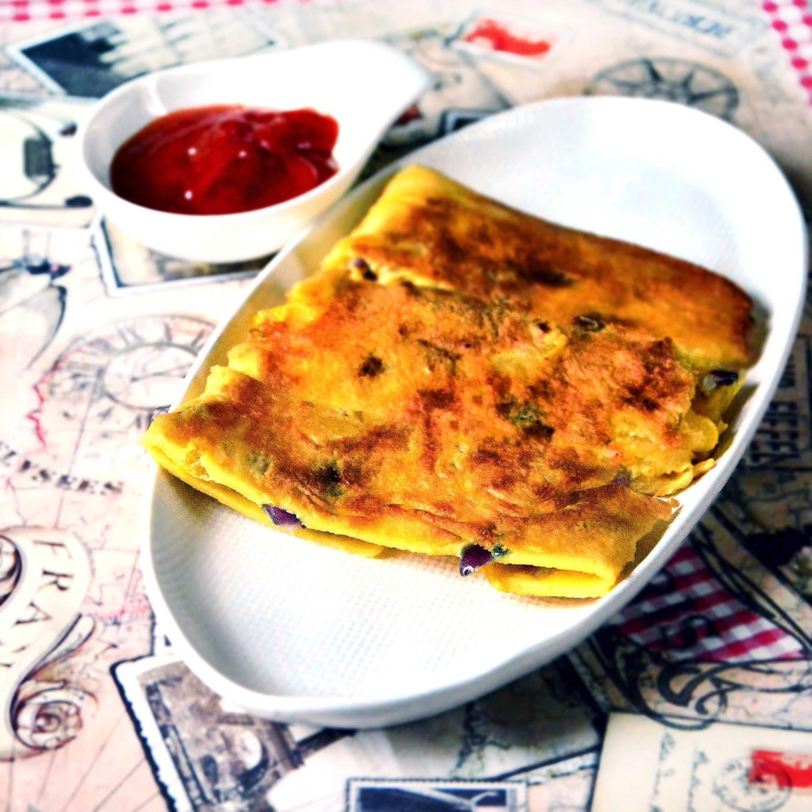 Pancake omelet envelope POE